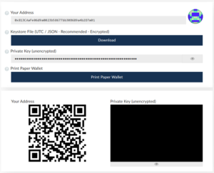 Verify new ethereum wallet details in MEW