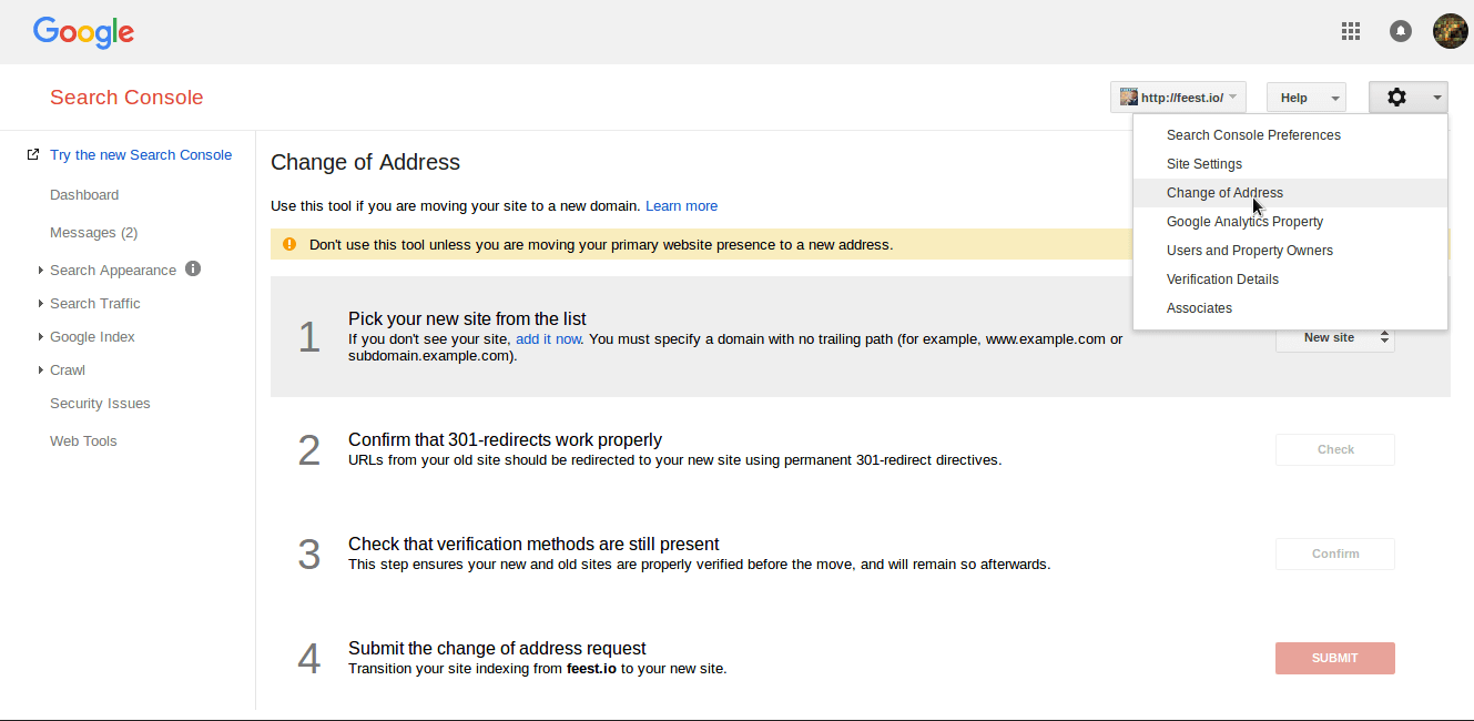 Google change of address 301 redirect