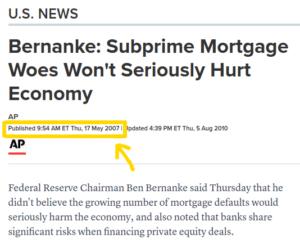 Ben Bernanke 2007 housing quote